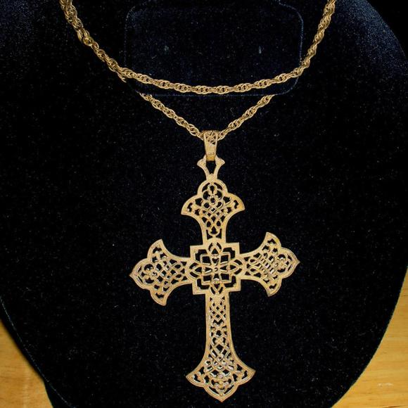 Vintage jewelry art nouveau brass filigree cross necklace poshmark m5ac64dc2b7f72bb17fae4537 aloadofball Image collections